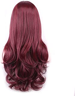 Wine Red Long Curly Full Wig with Bangs