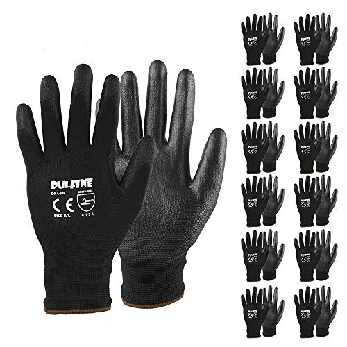 Ultra-Thin PU Coated Work Gloves-12 Pairs,Excellent Grip,Nylon Shell Black Polyurethane Coated Safety Work Gloves, Knit Wrist Cuff,Ideal for Light Duty Work. (Large)