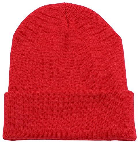 Beanie Men Women - Unisex Cuffed Plain Skull Knit Hat Cap, Red