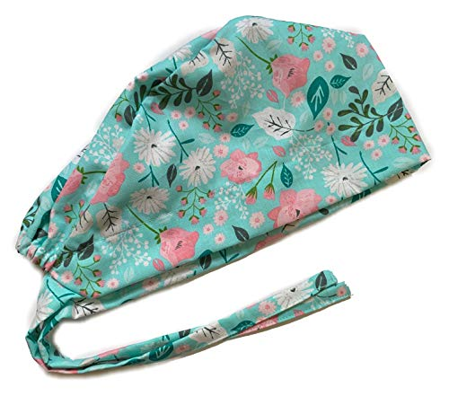 Women's Front Fold Tie Back Scrub Cap Surgical Cap Cute Patterns (Woman Teal Pink Flowers)