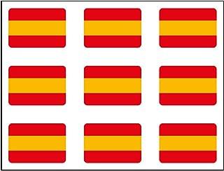 Aufkleber, spanische Flagge, rechteckig, 9Stück,16x 11mm pro Stück