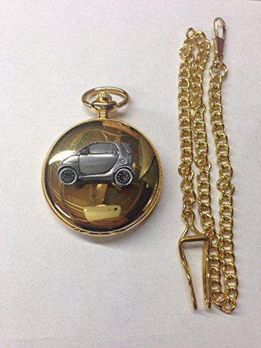 Smart Car ref240 emblema de efecto peltre pulido caja de oro para hombre regalo cuarzo reloj de bolsillo hecho en Sheffield