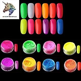 PRESTIGE NAIL DECORATIONS (8jars, Multi-Color Neon Pigment) Neon Pigment UniCorn Nail Dust Ombre Neon Pigments Gradient Nail Art Glitter Neon Powder Gradient Pigments Pretty Nails.