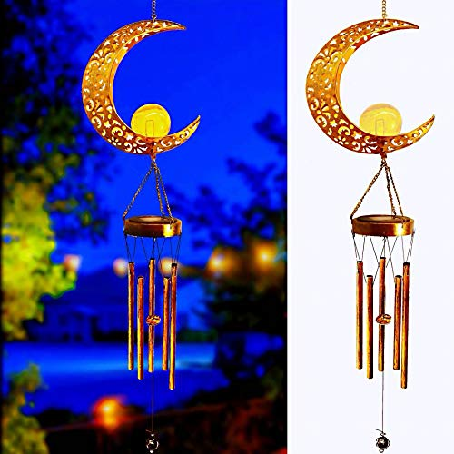 Solar Moon Wind Chimes, Crackle Glass Globe Antique Brass Metal Warm White Moon Lights,Outdoor Solar Lanterns for Lawn Patio Yard Wedding Party Wind Chimes (1Pack)