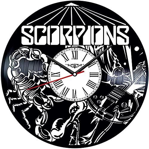 TJIAXU Reloj de Pared con Disco de Vinilo Scorpion, decoración única para el hogar, Regalo Hecho a Mano para Hombres, Mujeres, Amigos, niños
