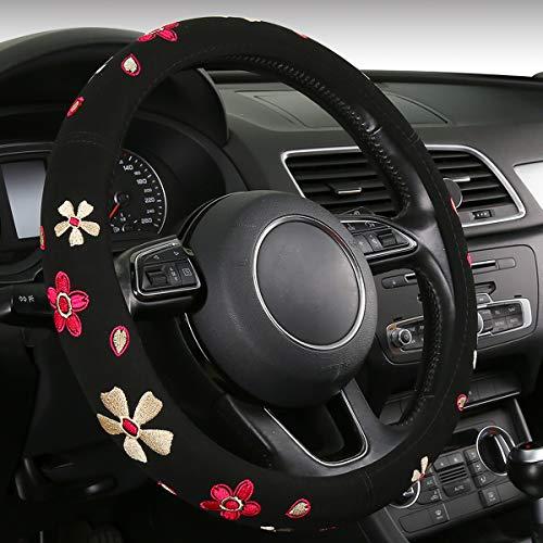 Lenkradhülle Blumen Stil Auto Lenkradbezug Universelle Größe Alle Jahreszeiten verwenden (swc-floralB)