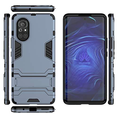 Gift_Source Huawei Nova 8 5G Funda, [Azul Negro] Suave Silicona TPU Parachoques y PC Dura Plastico Cover 2 en 1 Carcasa Protectora de Doble Capa con Función Soporte para Huawei Nova 8 5G (6.57')