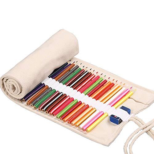 Sacchetto della Matita Tela Roll-up Wrap Borsa Stazionario Matite Carino HuaForCity Astuccio Penna Porta Casoper Studenti Artisti 36 Buche 46x20cm Beige