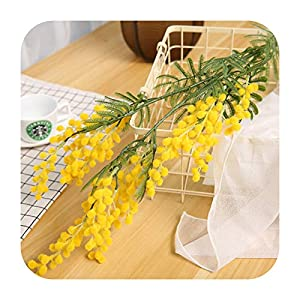 88cm Big Fake Acacia Artificial Flowers Yellow Mimosa Spray Cherry Fruit Branch Wedding Home Table Decoration Fake Flower-Yellow