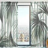 Mnsruu Cortinas transparentes para ventana, diseño de hojas tropicales de palmera, de tul suave, para sala de estar, dormitorio, 140 x 213 cm, 2 paneles