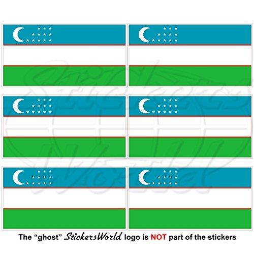 Lot de 6 mini autocollants en vinyle pour téléphone portable Motif drapeau de l'Ouzbekistan 40 mm