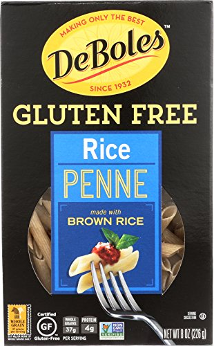 DeBoles Gluten-Free Rice Pasta, Penne, 8 Ounce (Pack of 12) (Packaging may Vary)