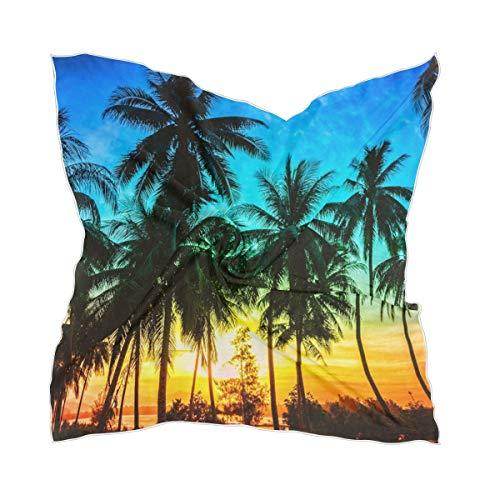 Ahomy Pañuelo cuadrado con diseño de palmeras de coco y palmeras en la playa al atardecer, 60 cm x 60 cm