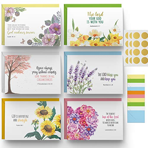 """Dessie 60 Inspirational Christian Greeting Cards. 6 Bible Verses. Encouragement Cards. Scripture Note Cards. Blank Inside for All Occasions. Assorted Color Envelopes and """" Blessed"""" Gold Seals"""
