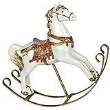 dekojohnson - Caballo balancín decorativo vintage – Decoración navideña nostálgica – Rojo noble sobre columpios de metal – 25 cm grande