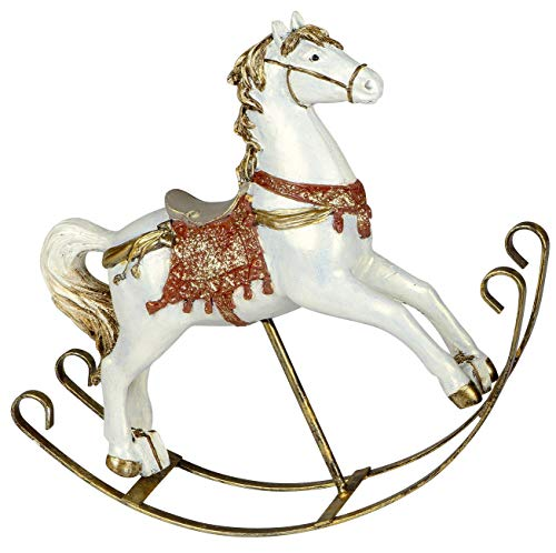 dekojohnson Deko-Figur Schaukelpferd Vintage Pferd Pferdefigur - Antik Rot auf Metallschaukeln 25cm Groß