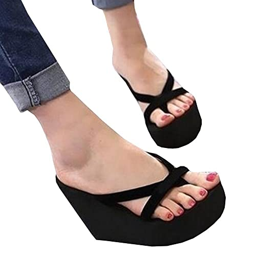69c5cf7cc Fashare Womens Wedge Flip Flops Summer Beach Platform Strap Thong Sandals  Black