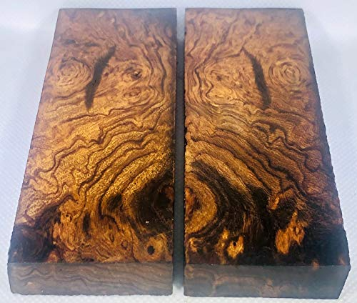 Bookmatched Ironwood (Burl Ball Pattern) Knife Scales – Knife Makers Material – Size 5 1/8 x 1 3/4 x 1/2 Inches - 2 Pairs