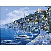 数による絵画 手塗りのリネン絵画に数字でデジタル絵画diy絵の描画の色を塗る壁の絵の風景-40*50cm