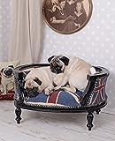 Hundesofa Barock Hundebett Union Jack Bezug Hundebettchen Mops Bully Katzenbett Palazzo Exclusiv