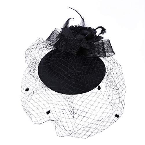 Lurrose Chapeau de fleur rose vintage avec un voile de thé de décor de voile de voilage pour dame (noir)