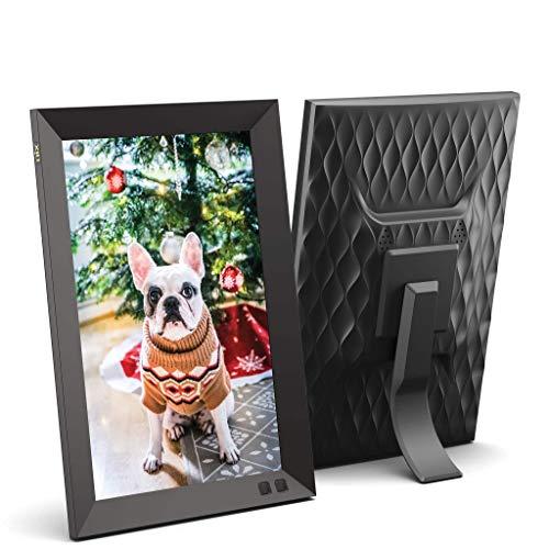 NIX 10.1 Zoll Digitaler Bilderrahmen. HD Fotos in gleicher Diashow, IPS-Display, Automatische Bilderdrehung, Energiesparender Bewegungssensor, Wandmontierbar, Uhr/Kalenderfunktion, Fernbedienung