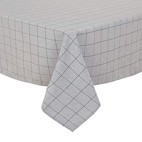 Deconovo, tafelkleed, linnenlook, waterafstotend, eetkamer, polyester, donkerblauw wit, 130 x 280