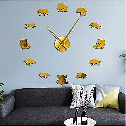 BBNNN Figuras de jabalí Arte de Pared DIY Espejo Pegatinas Reloj de Pared Gigante Cerdo Salvaje Reloj de Pared Grande Reloj Colgante Hunter Regalos47 Pulgadas