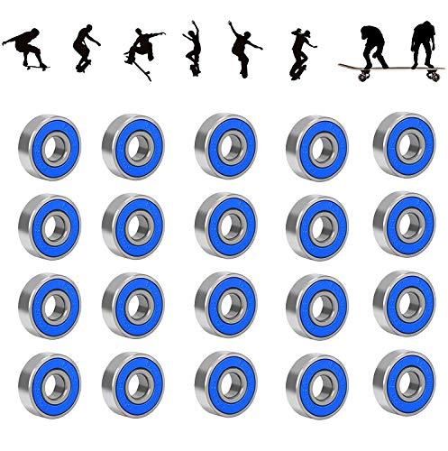 20 Pack 608 ZZ Kugellager 608RS ABEC 9 Metall Double Shielded Miniatur Rillenkugellager reibungsfreie für Skateboard, Roller, Inline Skates und Fidget Spinner Speilzeug (8mm x 22mm x 7mm) (Blau)