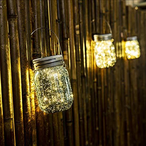 GIGALUMI Blau Solar Mason Jar Leuchte 6 Pack Einmachglas Solar Laterne Warmweiß Wasserdicht Garten Hängeleuchten für Party, Weihnachten, Hochzeit