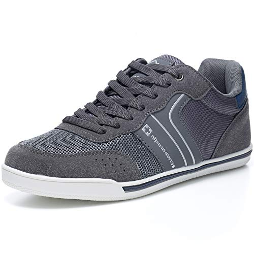 Alpine Swiss Liam Mens Fashion Sneakers Suede Trim Low Top Lace Up Tennis Shoes Gry 12 M US Grey