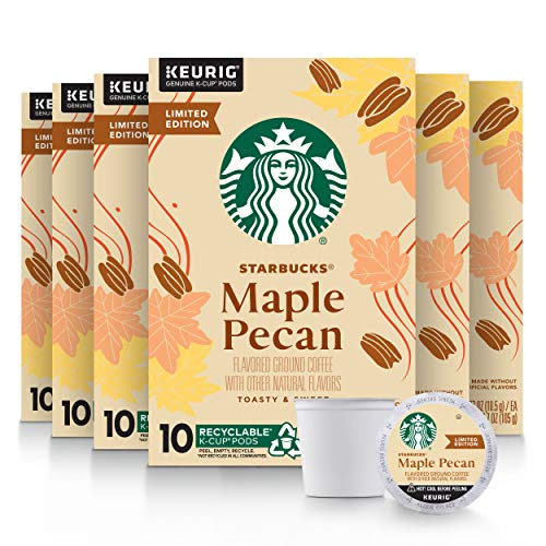 Starbucks Flavored K-Cup Coffee Pods — Maple Pecan for Keurig Brewers — 6 boxes (60 pods total)