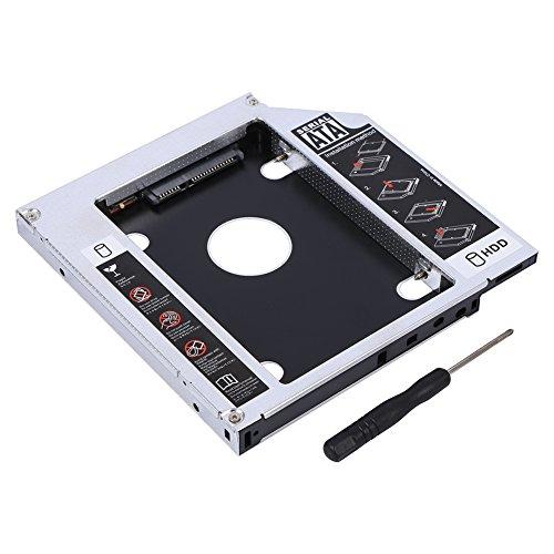 Carcasa Caddy para disco duro de 12,7 mm, carcasa SATA HDD SSD de aluminio Carcasa Caddy para unidad de disco duro Bandeja de bandeja Adaptador de DVD óptico, para CD-ROM de computadora portátil de 12