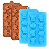 Silicone Chocolate Candy Molds, Non-stick Animal Gummy Molds, Silicone Baking Mold Making Kit - BPA Free, Forest Theme with Different Animals, including Dinosaurs, Bear, Lion and Hippo, Set of 4