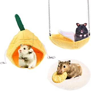 Xgood 3 Pieces Hamster Accessories Hammocks Soft Bed Mat Bed Nest Accessories for Small Animal Hamster Rat Chinchilla Hedg...
