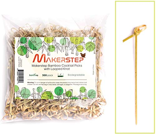 Makerstep Bamboo 4 inch Cocktail Picks 300 Pack with Looped Knot Natural Biodegradable Long Disposable Wood Toothpicks Skewers Safe Natural Resource