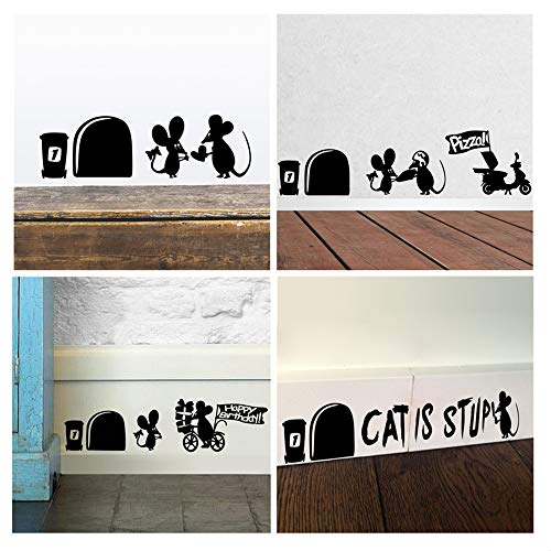 ufengke Wandsticker Maus Loch Sockelleiste Wand Kunst Aufkleber Wandtattoo für Kinderzimmer Wohnzimmer Schlafzimmer, Schwarz