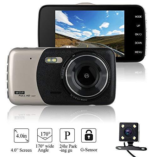 4 '' Dual Lens Dash Cam für Autos, HD 1080P Auto DVR 170 ° Weitwinkel-Fahrrekorder mit G-Sensor, Parkmonitor, Loop-Aufnahme