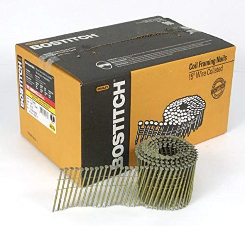 BOSTITCH Framing Nails, Wire Collated Coil, Thickcoat Galvanized, Round Head, 15-Degree, Screw Shank, 3-Inch x .120-Inch, 2700-Pack (C10S120DG)