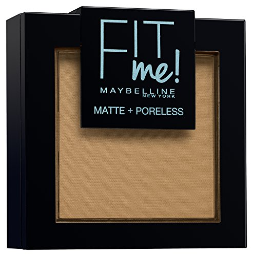 Maybelline New York - Polvos Matificantes Fit Me Mate y Afinaporos Tono 350 Caramel Pieles Muy Oscuras - 9 gr