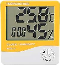 ANENG HTC-1 - Termómetro digital para interior con pantalla LCD (higrómetro, temperatura, humedad del aire, medición de la hora, despertador), color naranja