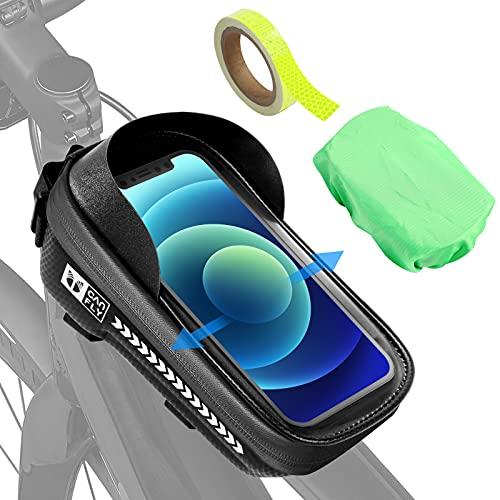 Earsing Bolsa para bicicleta resistente al agua para manillar de bicicleta, accesorio para pantalla táctil con cinta reflectante para smartphone de menos de 7,2 pulgadas