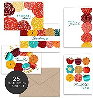 Paper Frenzy Vibrant Fall Floral Thank You Note Cards & Kraft Envelopes - 25 pack