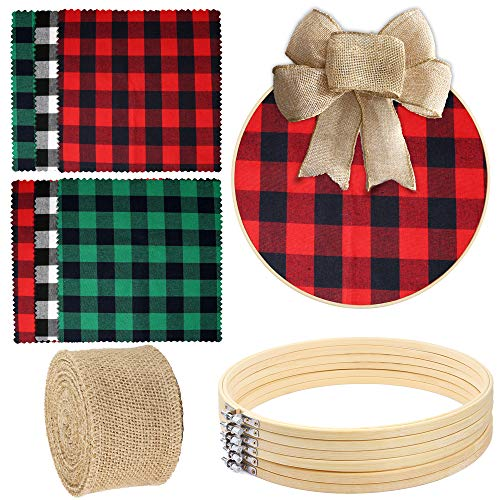 Caydo 6 Pieces 12 Inch Embroidery Hoops, 6 Pieces Plaid Fabric Fabric Squares and 1 Roll of Burlap Ribbon for Home Decoration