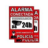 Cartel videovigilancia | Placa alarma conectada | Carteles zona videovigilada | Aviso a la Policía 20x15 cm Rojo Interior/Exterior (2 Piezas cartel videovigilancia)