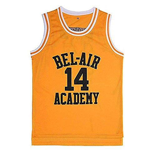 EKANBR The Fresh Prince of Bel Air Academy Basketball Jersey #14 Shirts (Yellow, Medium)