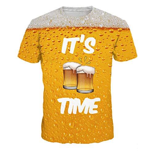Herrenhemd_BURFLY2019 Herren 3D Flutlicht Bier Print Kurzarm T-Shirt Top
