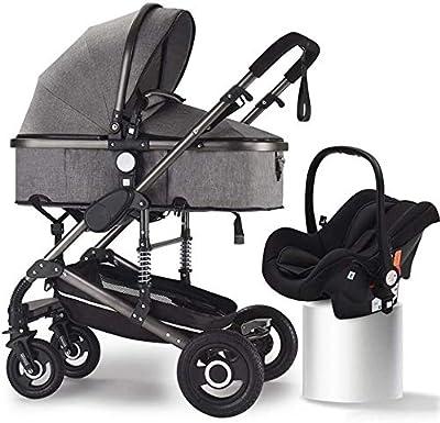 LQRYJDZ 3 en 1 Anti-Choque de Carro de Alta Ver Baby, Aluminio Carro de bebé, Cochecito de niño de los cochecitos Convertibles compactos, la Cesta del almacenaje y una Amplia Zona de Asiento