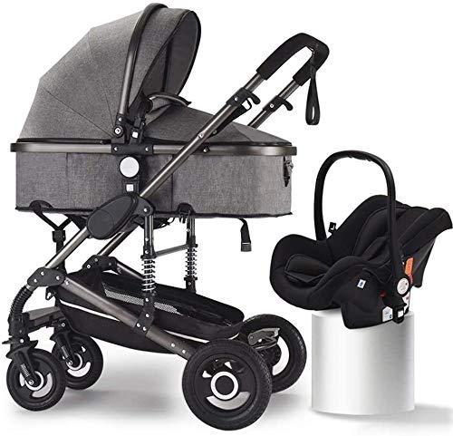 Tokujn Carruaje de bebé de aluminio, Cochecito de bebé paraguas Plegable, 3 en 1 Transporte de visión alta antirramo, cochecitos de cochecitos convertibles, cesta de almacenamiento, área de asiento gr