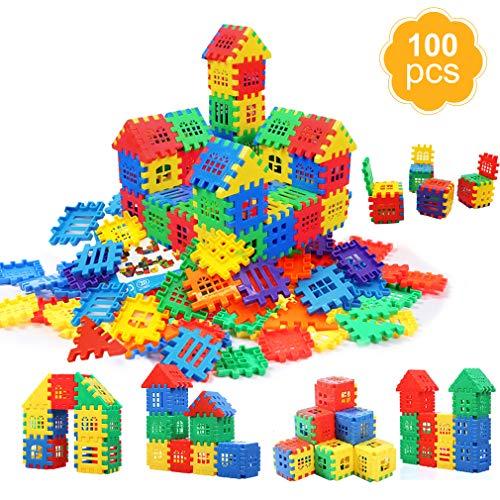 MICHLEY Kids Plastic Builders Blocks, 100 pcs Building Blocks Play Set for Children